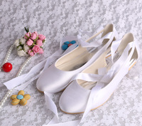14 COLORS Round Toe Lace Up Satin Wedding Bridal Ballet Flats White Comfortable Women's Prom Shoes with Ribbon