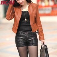 Women Big Size Leather Jacket M~3XL Solid Color Long Sleeve Short PU Leather Jacket