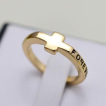 2013 nuevo oro plateó la cruz del regalo de la joyería anillos de dedo de la manera de las mujeres al por mayor R525