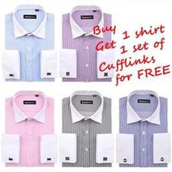 Get Cufflinks for Free! Mens Luxury French Dress Shirt / Tuxedo Shirt  men's formal wear Big size S-5XL