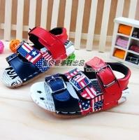 2014 New Summer Children Brand Sandal Shoes For Kids Boys US Flag Brand Leather PU Child Kid Children's Boy Sport Sandals