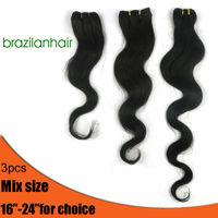 HOT SALE Factory outlet price,Body wave Virgin Brazilian Hair Extension,Mix size(Different length) 3 pcs/bundle,New human hair
