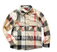Hotsale Classical autumn boys long sleeve shirt children cotton top-grade quality for 2-6years boys shirts,free shipping