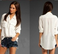 2013 Spring New Arrive Casual Loose Medium-Long Shirt Female White Long-Sleeve Shirt Chest Double Pocket Chiffon Shirt