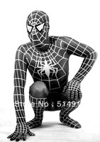 Hot Lycra Spandex Material Full Body Black Spiderman Hero Zentai Catsuit Costume