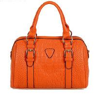 Fashion Bag Free Wholesale High Quality Shoulder Bag Women 2013 Hangbag Tote leather vintage Bag For Women  Black/Orange