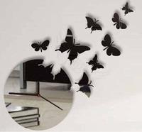 Min order 15 usd ( Mix items ) Butterfly Stickers 3D wall clock 8pcs Butterflys
