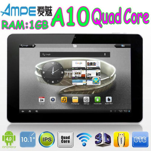 "In stock 10.1"" Ampe A10 Quad Core 16GB Android 4.0 Bluetooth 2.0 WIFI 1.2GHz IPS10-Point Capacitive Touch Screen 1280*800 Tablet(China (Mainland))"