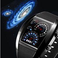 2014 HOT Brand Fashion Nice Blue & Black Watches Men Sport Watch For Men,LED Light Dot Matrix Men's Watches Free Shipping