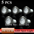 5Pcs/lot Wholesale  3W 5W High Power LED GU10 Spot Lamp AC85-265V Warm/Cool white FREE SHIPPING
