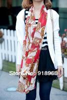 New fashion Women's Scarf/Elegant Lady Chiffon Scarf/Chain Carriage Wagon Pattern Air conditioner Shawl Beach Towel/ATE