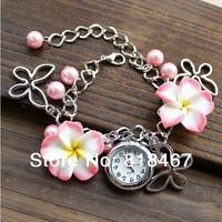 Free Shipping Wholesale Cartoon Multicolor Cute Clay Flower Bracelet Casual Watch Women Dress Watches Quartz Fashion Watch