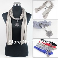 1 pcs MOQ jewelled pendant necklace alloy plum plossom charm jewelry scarf with women, original factory supply