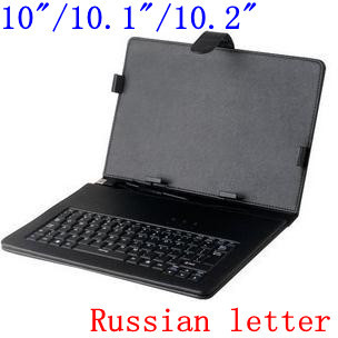 "10""/10.1""/10.2"" tablet pc  keyboard case usb/micro port  cover Russian and English letters  tablet case"