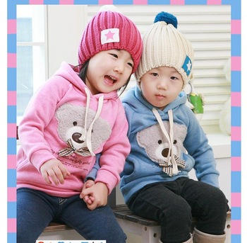 Baby/girls/boys Cartoon Teddy Bear Hoodies Kids Thick Sweatshirts Children Cotton Clothing Sweater For Winter/ Spring /Autumn
