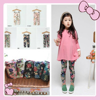 2014 Free Shipping Child Spring Fall Printing Flower Legging Girls Floral Cute Jegging Kids Fashion Flower Pants Skinny Trousers