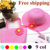 Free Shipping 2013 girls summer hats new Straw Baby Sun hat with Bag, Kids Summer Hat, Big Brim Sunbonnet, children straw hats