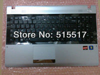 Free shipping silver c shell with speaker for Samsung NP RV515 RV520 RV511Keyboard russian with topcase brand new