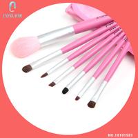 Essential Pink Makeup Brush Set Zoreya Pink 7 Pcs Goat Hair Face Cosmetic Kit Bag