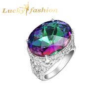 Fashion Big Sale Jewelry Rainbow Mystic Austrian Crystal Rings for Women 925 Sterling Silver Christmas Wedding Ring