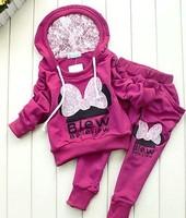 2015 Sport style girl suit/ long sleeve hoodie+long pants/children knitted sportswea