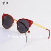 wine red ladies sunglasses, FASHION BRAND Men And Women SUNGLASSES big box metal uv protection glasses free shipping
