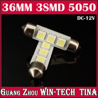 Free shipping Wholesale 10 pcs/ 36mm 3SMD 5050 Indicator Light Car Interior Lamp Automobile Wedge LED Bulbs 3 SMD