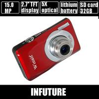 "15.0 mega pixels camera digital camera 2.7"" TFT LCD display with 5X optical zoom household dgital camera  DC-100 free shipping"