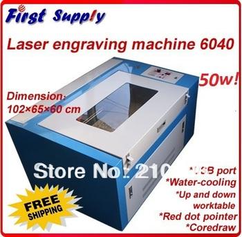 2013 new 6040 50w CO2 laser engraving machine 6040/4060/640 laser cutting machine/ 60*40cm USB port , best price