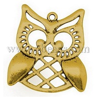 Most Wanted Findings Tibetan Style Pendants,  Owl Pendants for Halloween,  Lead Free and Cadmium Free,  Antique Golden