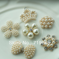 Free Shipping!50pcs/lot LO-016 6styles metal rhinestone button with pearl for Hair Flower Wedding Invitation Scrapbooking
