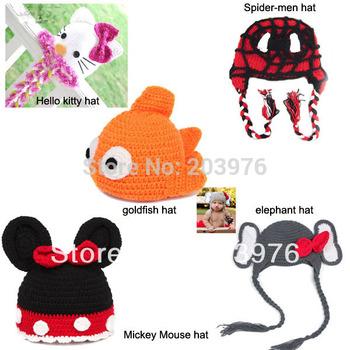 Retail American new 5 design crochet handmade cat / bear / goldfish / spidermen / elephant baby chilren animail cute hat earflap