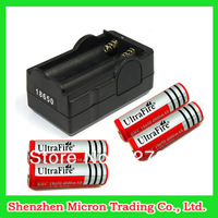 Promotions! 4PCS/lot Battery UltraFire Battery 18650 4000mAh 3.7v Rechargeable Battery + Dual Charger