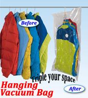 Large Hanging Vacuum Storage Vacuum Bags with Hanger for Clothes Wardrobe Organizer Space Saving Suit Bag 135*70*38cm Wholesale