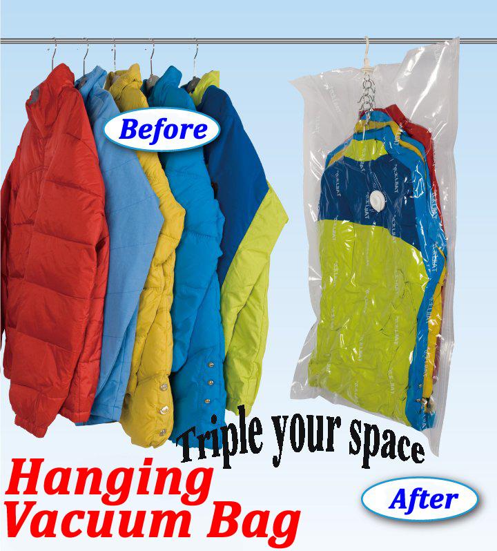 Large Hanging Vacuum Storage Vacuum Bags with Hanger for Clothes Wardrobe Organizer Space Saving Suit Bag 135*70*38cm Wholesale(China (Mainland))