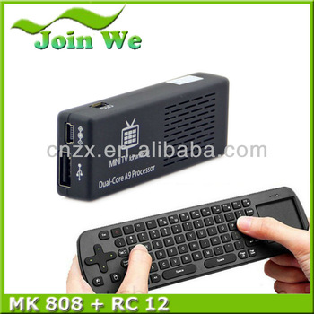 10pcs /lot MK808 Android 4.2 Jelly Bean Mini PC RK3066 A9 1GB/8GB Dual Core Stick TV Dongle and free rc12 keyboard