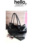 Free shipping   New leather female weaving shoulder bags   Women vintage handbag