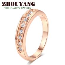 ZYR062 9 Wedding clássico Pedra Anel Champagne 18K banhado a ouro anel feito com cristais austríacos genuínos tamanhos completo atacado(China (Mainland))
