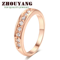 ZYR062 9 Stone Classic Wedding Ring 18K Champagne Gold Plated Ring Made with Genuine Austrian Crystals Full Sizes Wholesale