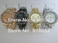 Free shipping 2014 New Fashion Luxury Brand Kors Watches Full Steel Women Rhinestone Watches Pyramid Style Quartz Watch 4 Color