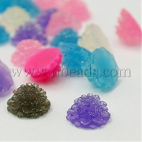 Stock Deals Shining Dahlia Flower Resin Cabochons in Mixed Color with Glitter Powder about 12mm in diameter and 6mm thick