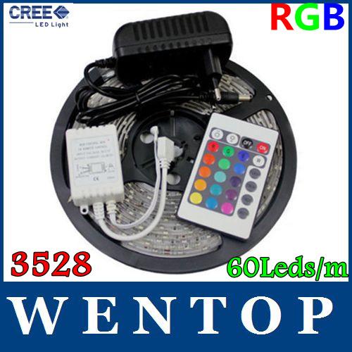 5M SMD 3528 RGB 300Leds Flexible Light Strip and 24key IR Remote and 12V 3A Power Supply US EU UA UK With tracking number(China (Mainland))