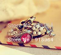 C102 Man Woman Fashion Vintage Jewelry Rings Bronze 5 in 1 Pearl Flower Bowknot Angel Wing Swallow Finger Rings