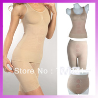 3 Pieces Tourmaline  Women's  Sexy  Magic Control Body Shaper Slimming  Underwear Bodysuit  Full Cup