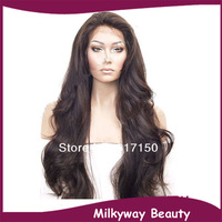 Free shipping heat resistant synthetic lace front wig natural wave #2 length12-30inch short long lace wig women