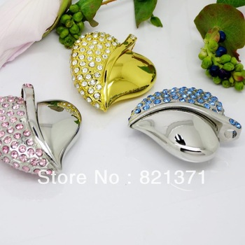 Swarovski crystal usb stick heart shape jewelry  USB Flash Drive 8GB 16GB 32GB 64GB  real capacity   novelty gift