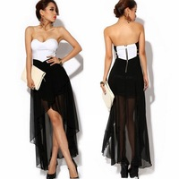 Free shipping New Fashion Sexy Women Asymmetric Zipper Party Evening Strapless Dresses D0009
