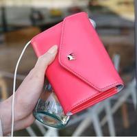 Women Crown Purses 2015 Mini Coin PU Leather Ladies Wallet For IPhone Fashion Women Clutch Korea Cheap Wallets Free Shipping
