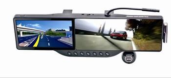 5 inch LCD screen GPS navigation rear view mirror car dvr 350 wide angel 720P HD camera bluetooth G-sensor MP3 cycle recording