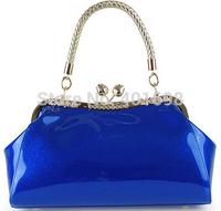 Free shipping, japanned leather vintage women's handbag knitted handle evening bag handbag evening bag bridal bag B2
